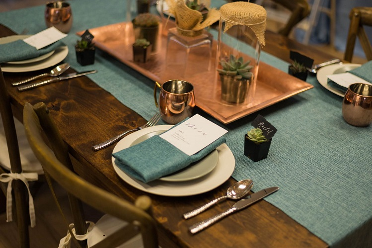 Azure Vintage Linen Table Cloth, Teal Table Linen