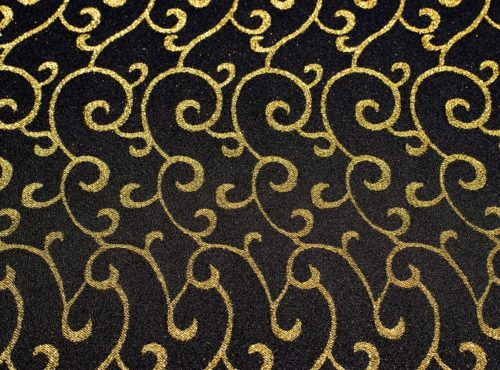 Black and Gold Metallic Swirl Table Linens
