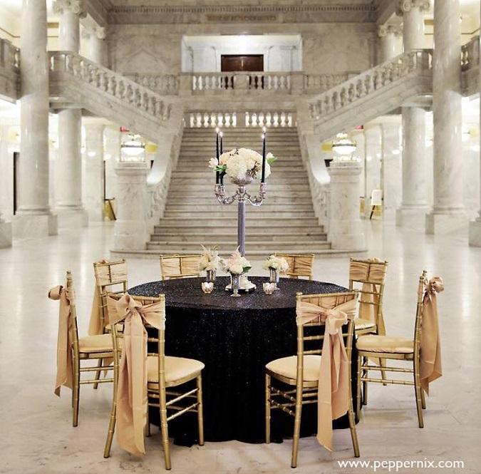 Black Sequin Table Linen, Black Sequin Table Cloth