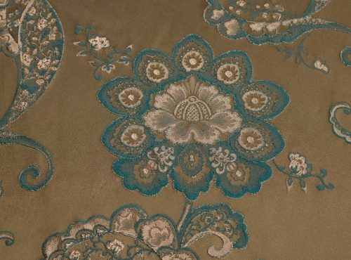 Cappuccino Palazzo Table Linen, Brown and Blue Paisley Table Cloth, Brown Floral Table Cloth