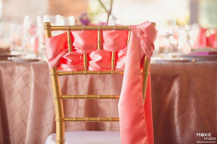 Coral Shantung Chair Sash, Pink Chair Tie