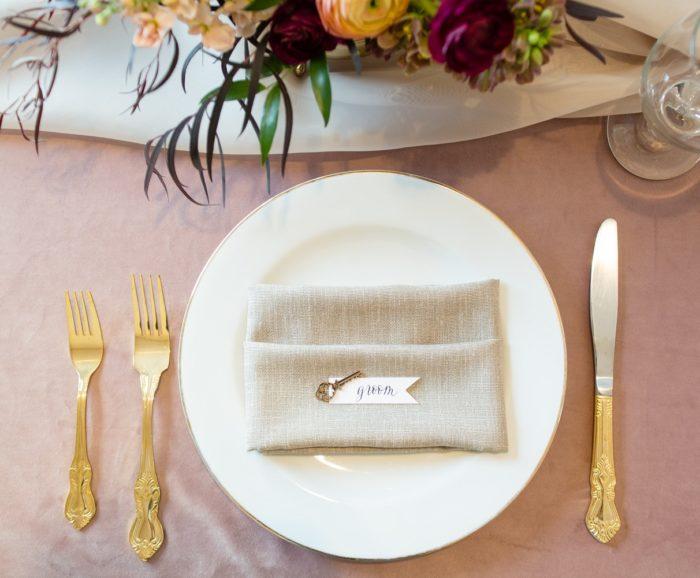 Stone Linnea Napkin, Dusty Rose Plush Velvet Linen, Champagne Voile Table Veil