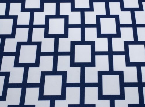 Indigo Piazza Table Linen, Blue Geometric Table Cloth