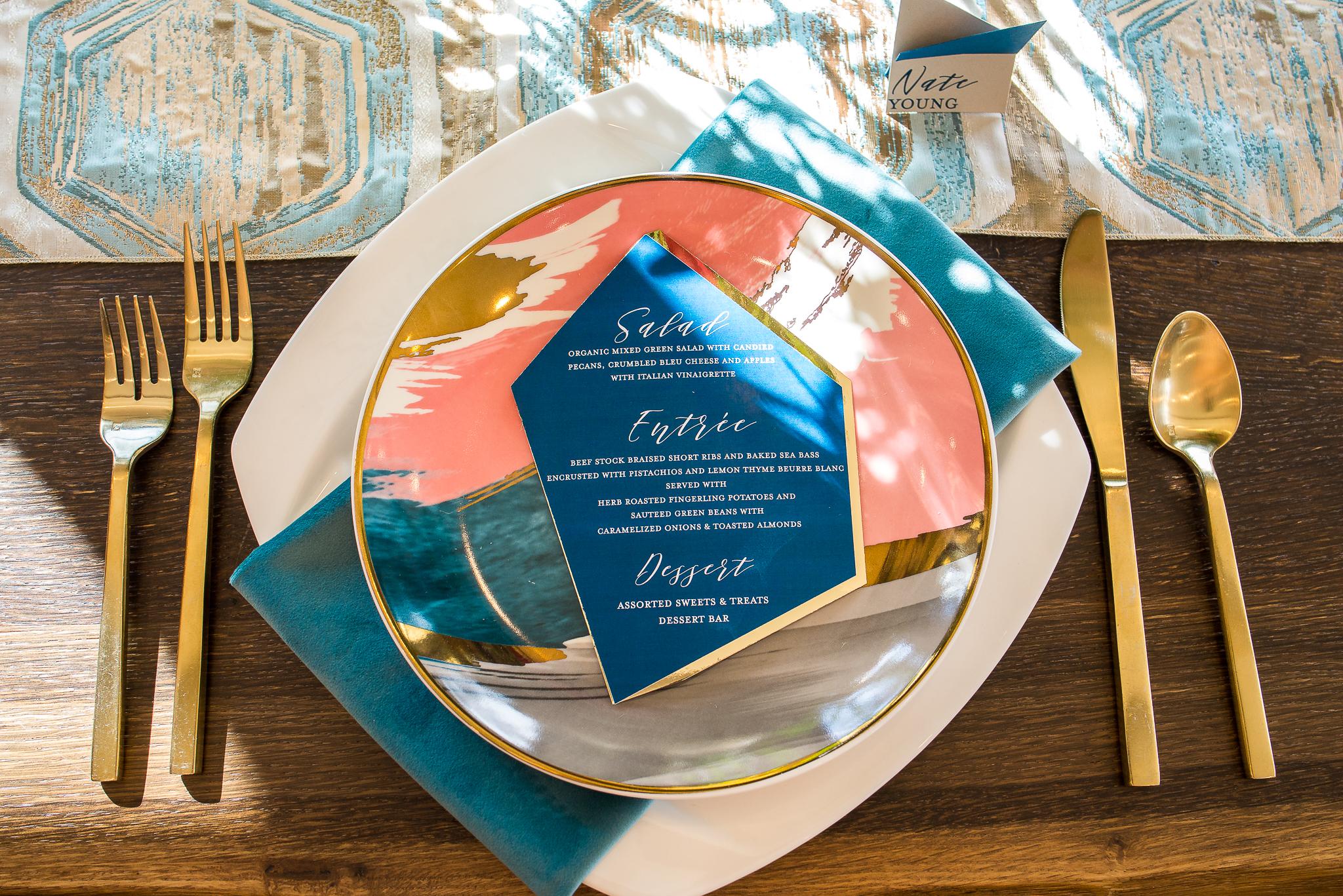 Ocean Blue Plush Velvet Napkin, Topaz Prism Runner