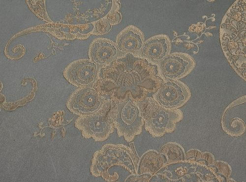 Misty Blue Palazzo Table Linen, Slate Paisley Table Cloth, Blue Paisley Table Linen