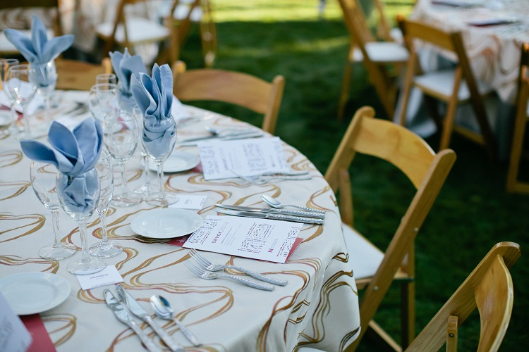 Ivory Streamer Table Cloth, Gold Swirl Table Linen