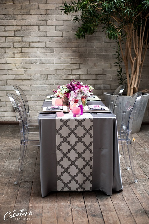 Platinum Lamour Table Linen, Grey Satin Table Cloth