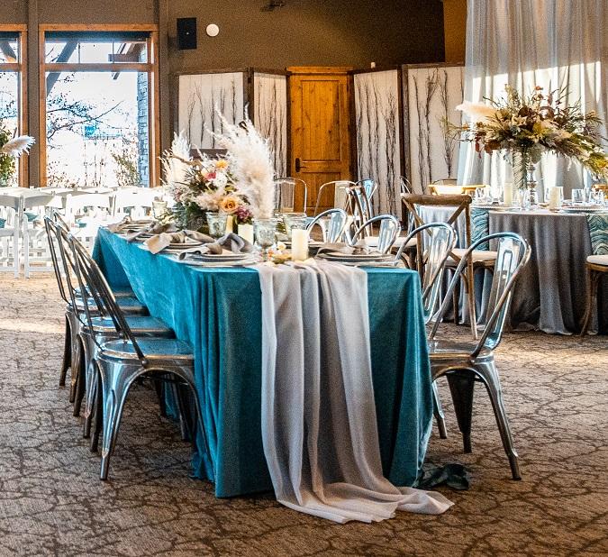 Platinum Voile Table Veil, Sheer Grey Table Runner