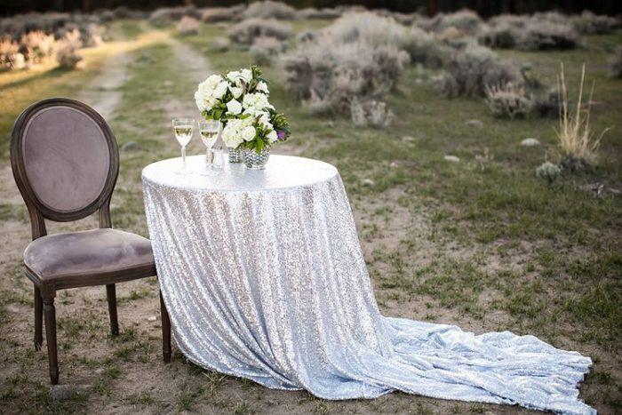 Silver Sequin Table Linen, Silver Blue Sequin Table Cloth