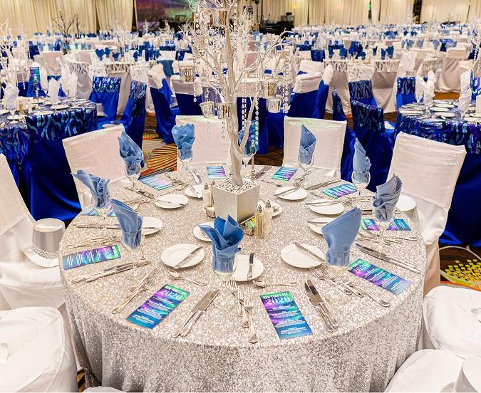 Silver Sequin Table Linen