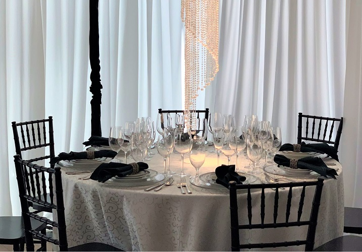 Silver and White Metallic Swirl Linen