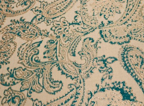 Teal & Gold Martinique Reversible Table Linen, Blue Paisley Table Cloth