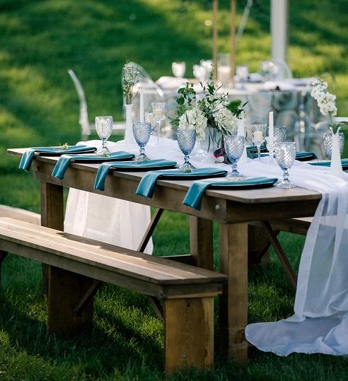 Ocean Blue Plush Velvet Napkin, Teal Velvet Table Linen