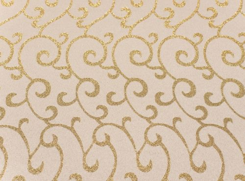 White and Gold Metallic Swirl Table Linen