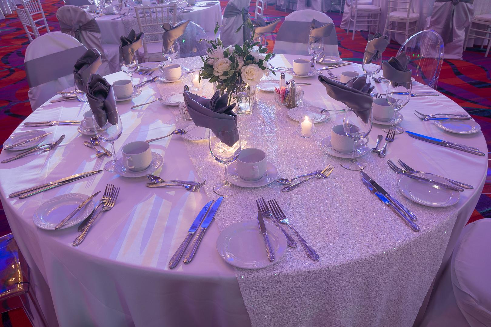White Sequin Table Linen