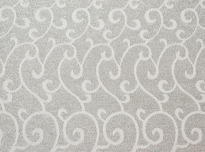 White & Silver Metallic Swirl Table Linen