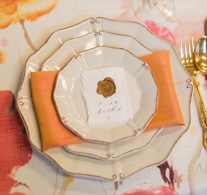 Papaya Dupioni Napkin, Pink Orange Table Linen