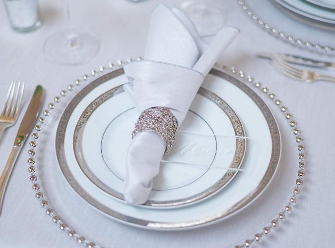 Silver Dupioni Table Linen, Light Grey Table Cloth