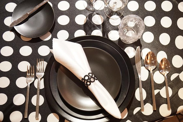 Black with White Polka Dots Table Linen