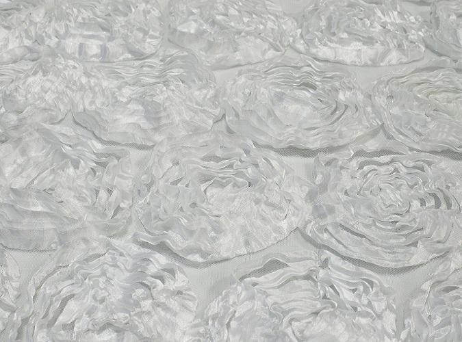 White Rosette Table Linen, White Floral Table Cloth