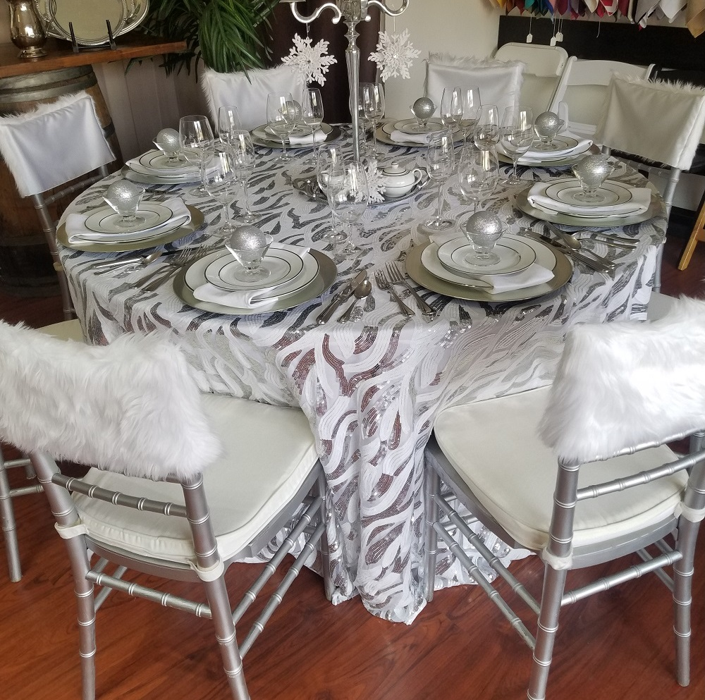 White Faux Fur Chiavari Chair Cap, White Fur Chair Treatment