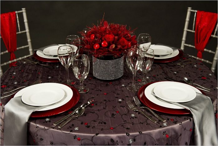 Chelsea Table Linen, Sheer Black Floral Table Cloth